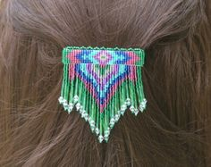 Sm Green, Pink, and Blue 4 Winds with dangles. Handbeaded seed bead barrette.