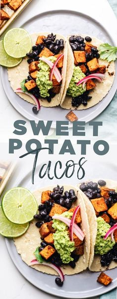 Enjoy these easy and DELICIOUS sweet potato tacos for a quick weeknight meal. Made with satisfying black beans zesty roasted sweet potatoes and crunchy pickled onions. A flavorful and easy to make meal Easy Vegan Dinner, Vegan Dinner Recipes, Vegan Dinners, Vegetarian Recipes, Dinner Healthy, Easy Vegan Food, Healthy Food, Quick Weeknight Meals, Easy Meals