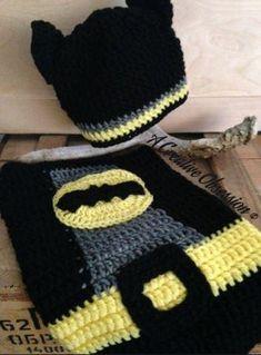 Batman Cocoon Set Crochet pattern by A Creative Obsession Crochet Costumes, Baby Costumes, Crochet Hats, Crochet Batman, Baby Cocoon Pattern, Baby Batman, Crochet Baby Cocoon, Halloween Crochet Patterns, Crochet Pumpkin
