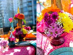 Love all the colors! We'll be adding bring colors and fabrics to the tables to get this feel