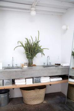 live along the L. / sfgirlbybay concrete vanity in Elysian valley home's bathroom. Rustic Bathroom Vanities, Diy Bathroom Decor, Simple Bathroom, Bathroom Storage, Bathroom Sinks, Bathroom Ideas, Open Bathroom, Bathroom Grey, Bathroom Makeovers