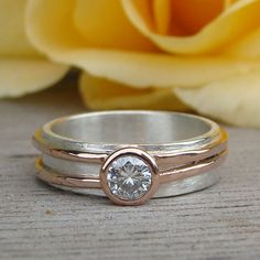 Moissanite Engagement or Wedding Ring with by McFarlandDesigns, $598.00
