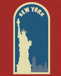 New York Statue of Liberty Poster Art Poster Print