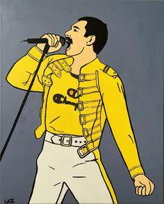 Freddie Mercury pop art painting by artist Liz Kelly Zook