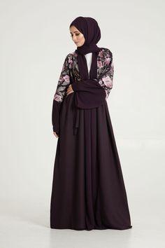 Abayas: Aubergine Embriodered Kimono | AbayaButh