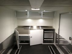 Custom upper and lower race cabinets Enclosed Trailer Cabinets, Enclosed Trailers, Car Trailer, Utility Trailer, Rv Campers, Camper Trailers, Enclosed Car Hauler, Cargo Trailer Conversion, Garage Tool Storage