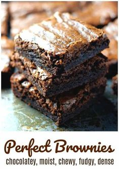 Perfect Brownies {For that Chocolatei 'Fix'} - Chocolatey, chewy, fudgy, dense, Perfect Brownies that pretty much just rock and rule the world! Best Brownie Recipe, Brownie Recipes, Cookie Recipes, Dessert Recipes, Recipe For Moist Brownies, Simple Brownie Recipe, Easy Homemade Brownies, Healthy Brownies, Chewy Brownies