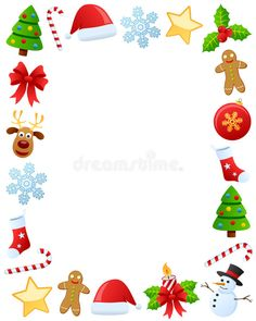 Illustration about Photo frame, post card or page for your scrapbook. Subject: Christmas ornaments, isolated on white background. Illustration of card, cane, illustration - 21960895 Christmas Boarders, Christmas Frames, Christmas Background, Christmas Wallpaper, Christmas Projects, Christmas Photos, Vintage Christmas, Santa Claus Christmas Tree, Christmas Flyer