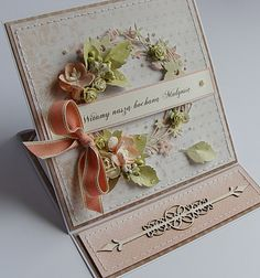 """handmade card ... easel card design ... gorgeous pale wreath ... die cuts ... """"real"""" artificial flowers and foliage ... sweet bow ...all-over pretty ..."""