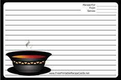 This Soup Black Border Recipe Card features a steaming bowl of soup with a black border. Free to download and print