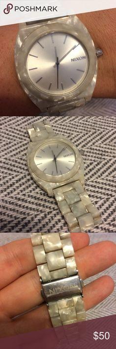 NIXON WATCH TIME TELLER ACETATE MOTHER OF PEARL Mother of Pearl Time Teller Acetate Nixon Watch. Great Watch! Waterproof. Needs Battery. Nixon Accessories Watches