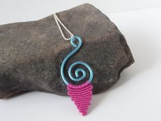 iceblue spiral wire pendant with pink micro macrame element by Kreativprodukte, €13.00