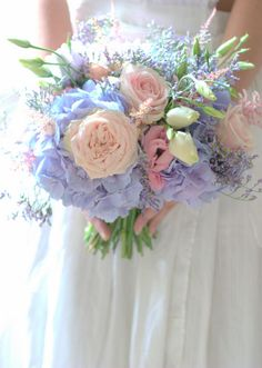 Vintage lilac meadow flower wedding bouquet with Hydrangea and pastel colours