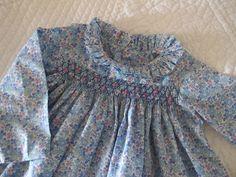 bleu japonais - kankan&co Little Girl Dresses, Girls Dresses, Baby Dresses, Doll Clothes, Babies Clothes, Crochet Baby Jacket, Heirloom Sewing, Smock Dress, Smocking