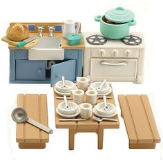 Sylvanian Families Rustic Kitchen Furniture - perfect for the log cabin or treehouse