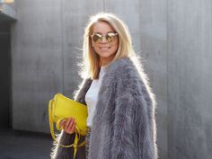 LACK OF COLOUR / Faux Fur outfit / Mirrored sunglasses