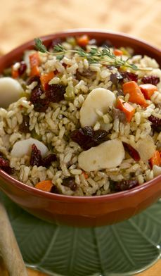 Brown Rice Pilaf with Dried Cranberries and Water Chestnuts  - Rice pilaf is a simple but flavorful rice dish that stays loose and fluffy.