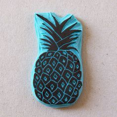Rubbert stamp of a pineapple - hand carved stamp mounted on wood for your summer ideas.