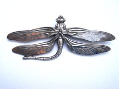 Large dragonfly brooch - unique and wonderful curved tail on this one.