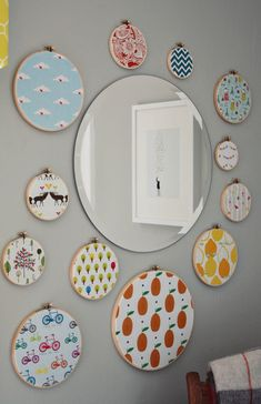 Embroidery hoop wall art - we love pairing various patterns and colors for an eclectic look! #nurserydecor