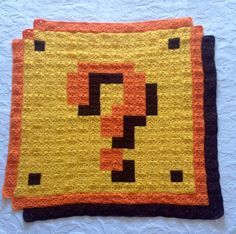 Super Mario Question Block 8-bit Crochet Blanket by ATOMIC Bits (Size: aprox. 80 x 80 cm or 31,5 x 32,5 in.)
