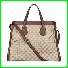 7c45ae0e5f1a2f Gucci Ramble Original GG Canvas and Brown Leather Layered Tote Handbag  370820 Measurements: 15 length x width x height inches, shoulder strap  drop: 15 ...