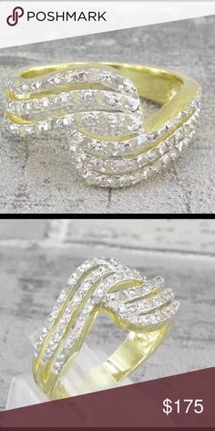 (JUST IN) 18KT gold over 925 SS with diamonds Gorgeous!!! 18KT gold over 925 Sterling Silver ring with               ( .40ctw ) genuine diamonds size 6 Gold over sterling Jewelry Rings