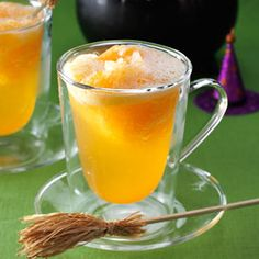 """Orange Witches' Brew Punch {A Taste of Home} """"This slushy punch requires no ice ring to keep it cold. It's not too sweet, so it appeals to everyone. Use this refreshing beverage for any celebration. Halloween Drinks, Halloween Goodies, Halloween Treats, Halloween Party, Halloween Jelly, Cocktails, Alcoholic Drinks, Party Drinks, Tea Party"""