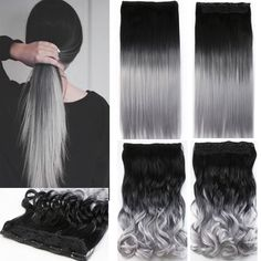 ワンピース毛パッド24インチ60センチレディ女性ヘアピースストレート黒にシルバーグレーオンブル色毛extensionsのb20