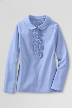 f79d669f6e2 School Uniform Long Sleeve Knit Peter Pan Ruffle Front Polo from Lands  End  Vintage Children