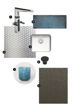 1) Water tap: Oras Optima 2) Worktop StalaTex patterned stainless steel - pattern Honeycomb 3) Small sink, Stala N-Seven 4) Kitchen door: FosbART Taupe, Puustelli 5) Black knob, Puustelli 6) Tile: torquoise rustic tile, ABL-laatat 7) Ceramic cup, H&M Home