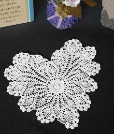 crochet thread heart doily - Google Search