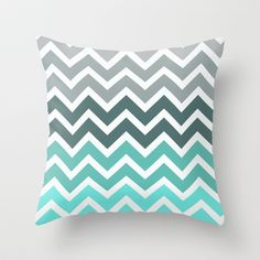 Chevron Pillow - Tiffany Blue