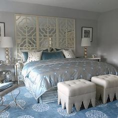 Suzie: Mabley Handler - Glam blue bedroom with Madeline Weinrib Atelier Light Blue mandala Rug, . Mirror Headboard, Headboard With Lights, Ikea Mirror, Velvet Headboard, Mirror Tiles, Mirrors, Glam Bedroom, Bedroom Decor, Bedroom Ideas