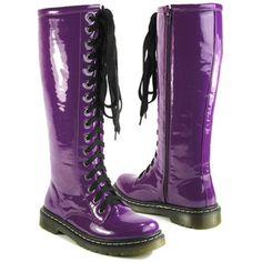 LADIES VINTAGE LACE UP ZIP PATENT WOMENS KNEE HIGH BOOTS PUNK COMBAT SIZE 3-8 | eBay