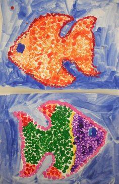 Pointillism Fish Paintings
