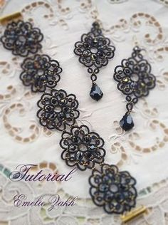 Black lace jewelry.PDF Tatting Pattern Tamara set earrings and bracelet frivolite pattern tatting instruction tatting with beads earrings #beadedjewelrypatterns