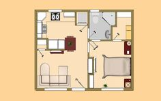"The 396 sq ft ""Ricochet"" small house floor plan."