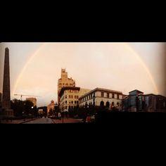 Rainbow over downtown.