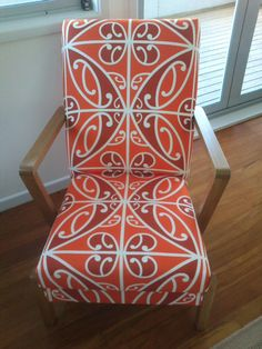 Retro arm chair by Borrowed Earth. Fabric printed by Print on Fabric.