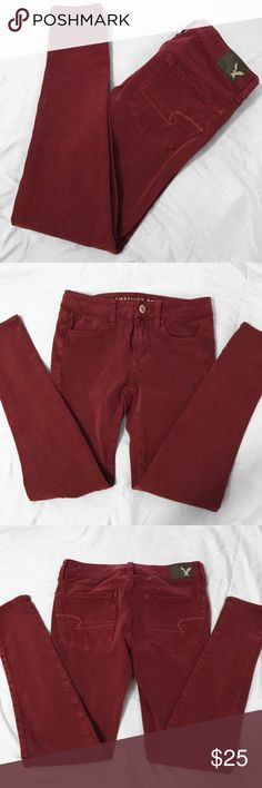 American Eagle Jeggings NWOT Super soft and stretchy American Eagle Hi-Rise jeggings in a burgundy/wine color!  Side note: the color of the jeggings taken from the american eagle website are a bit darker than the ones listed! you will NOT be receiving that color but WILL be receiving the color of the jeggings in the pictures i've taken. thanks!! American Eagle Outfitters Jeans