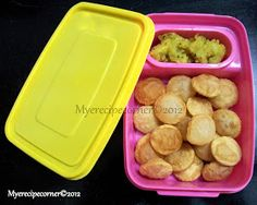 Mini Puri- Kids recipes     Ingredients   Poori dough- to roll out 2 pooris---click for recipe   Potato masala- to serve with mini pooris-...