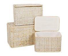 Set de 3 cestos de bambú I - beige claro