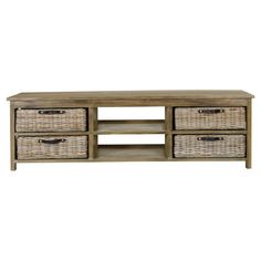 A stylish addition to your living room or master suite, this essential media console features 2 open shelves and 4 removable woven baskets.    ...