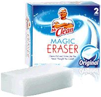 What Mr. Clean Magic Erasers Can Do:  remove dried paint from door hinges  remove tarnish from silver  remove mold & mildew from anything plastic  clean & polish gold jewelry  remove soap scum in the tub and shower  remove marks on walls  clean splatters inside the microwave  remove marks on vinyl siding  clean mirrors in the bathroom (keeps shower mirrors from fogging)  remove adhesive residue after removing stickers