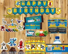 DIY Mixels Birthday Party Kit Download Banner Invite Cupcake Toppers Favor Tags Bottle labels Centerpiece Lego Mixels Birthday Party Pack