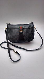 4c5daeb0de49 GUCCI Vintage GG Supreme Monogram Black Web Shoulder / Crossbody Bag.  Italian Designer Bag.