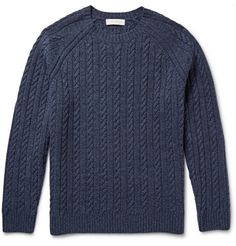 Gieves & Hawkes Mélange Cable-Knit Wool and Cashmere-Blend Sweater. Gieves & Hawkes' blue mélange sweater is knitted with a traditional cable-knit and raglan sleeves, delivering both comfort and style to your winter roster. This tactile loose-fitting design has ribbed trims and a warming wool and cashmere composition.