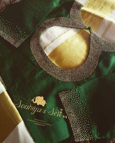 Kerala Saree Blouse Designs, Saree Blouse Neck Designs, Fancy Blouse Designs, Bridal Blouse Designs, Kurti Embroidery Design, Embroidery Neck Designs, Zardozi Embroidery, Hand Embroidery, Kurta Neck Design
