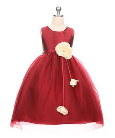 Look what I found on #zulily! Burgundy Flower Embellishment Sleeveless Dress - Toddler